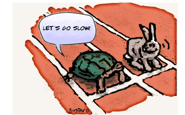 Cartoon the turtle and the hare: let's go slow