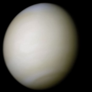 Venus processed from two filters. The surface is obscured by a thick blanket of clouds.